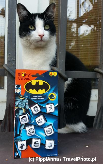 Kot gotów do walki ze złem. A gdzie Kobieta-Kot? Zwróćcie uwagę na nietypowe i stylowe opakowanie gry!