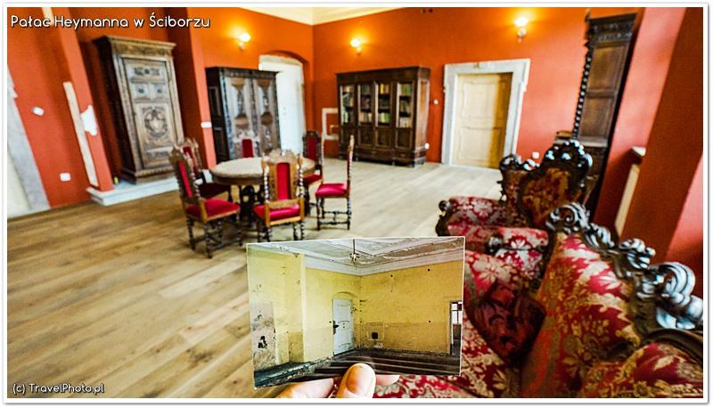 Pałac Heymanna w Ściborzu - na zdjęciu trzymanym w dłoni to wnętrze kiedy Krzysztof Erm kupił pałac
