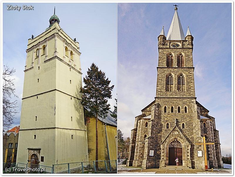 Złoty Stok - kościoły, z lewej dawny ewangelicki - jeden z symboli miasta