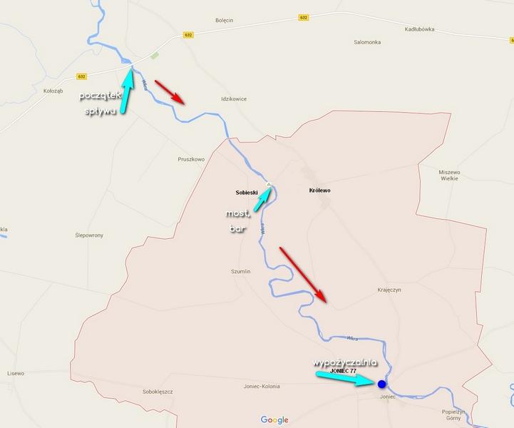 Mapa naszego spływu
