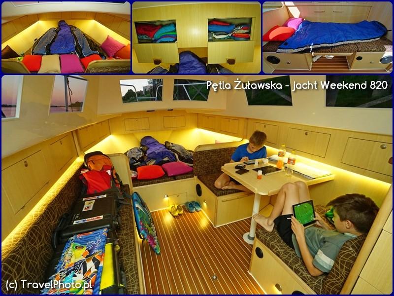 Pętla Żuławska - jacht Weekend 820, wnętrze - koja dziobowa, bakisty, koja w miejscu stołu w mesie