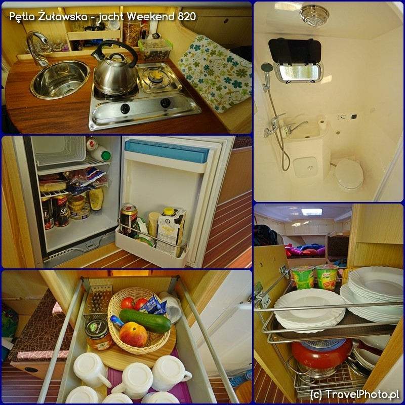 Pętla Żuławska - jacht Weekend 820 - kambuz, lodówka, toaleta, szafki zaplecza kuchennego