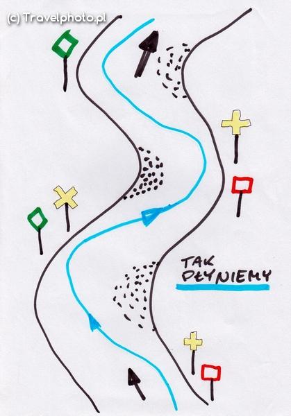 Przykład oznakowania fragmentu Wisły - żółte krzyże informują o przejściu szlaku pod drugi brzeg