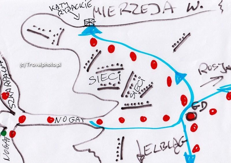 Schemat szlaku do/z ujścia Nogatu