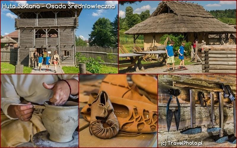 Huta Szklana - Osada Średniowieczna, imponująca brama przekroczona i dalej od chaty do chaty, od rzemiosła do rzemiosła...