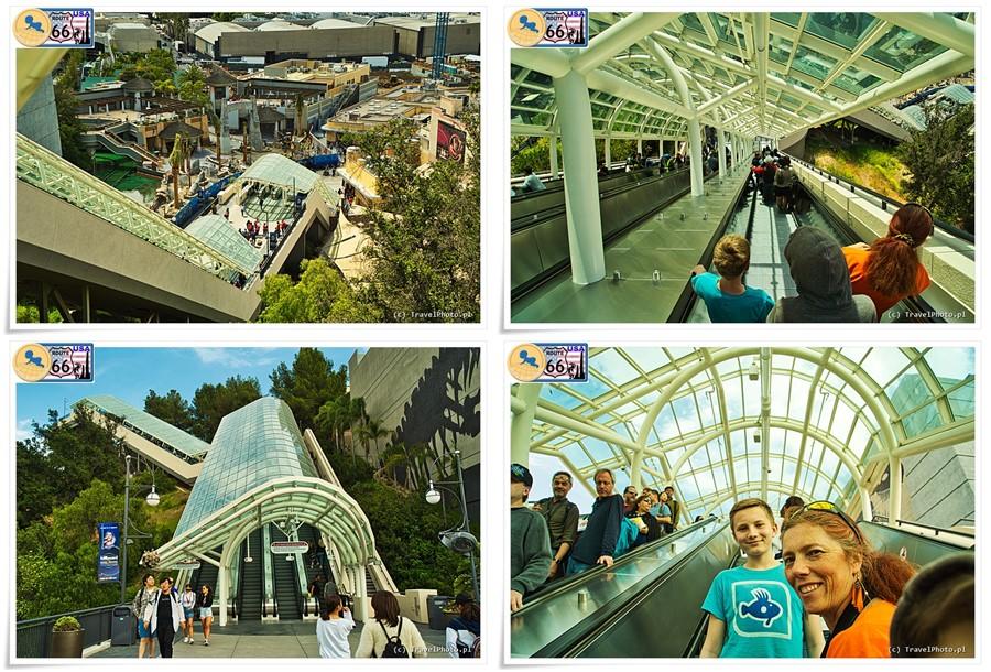 LA - Universal Studios, ruchome schody łączą oba poziomy