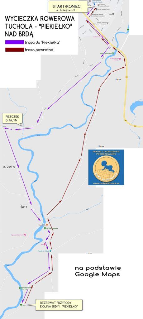 """Mapa szlaku rowerowego TUCHOLA - """"PIEKIEŁKO"""" nad Brdą"""