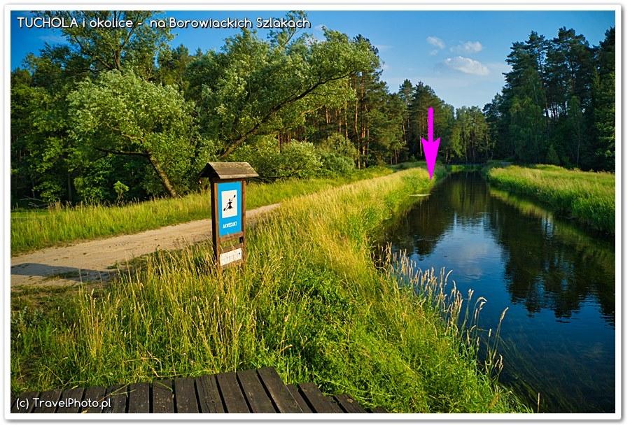 Mały Akwedukt - oznakowanie dla kajakarzy i strzałka pokazująca gdzie jest naprawdę!