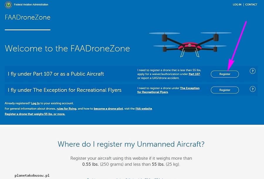 Latanie dronem w USA - podstrona FAA poświęcona dronom