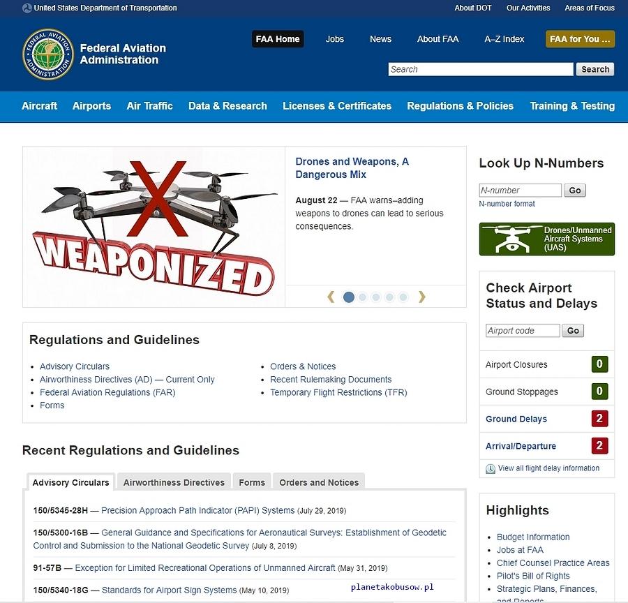 Latanie dronem w USA - strona główna FAA