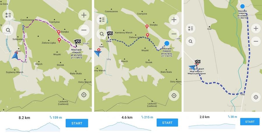 Mapa trasy w podziale na etapy z profilem